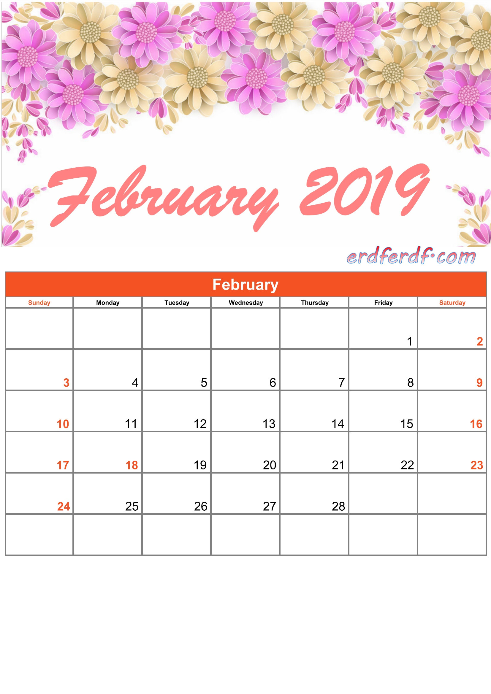 2 February Printable Calendar 2019 Monthly