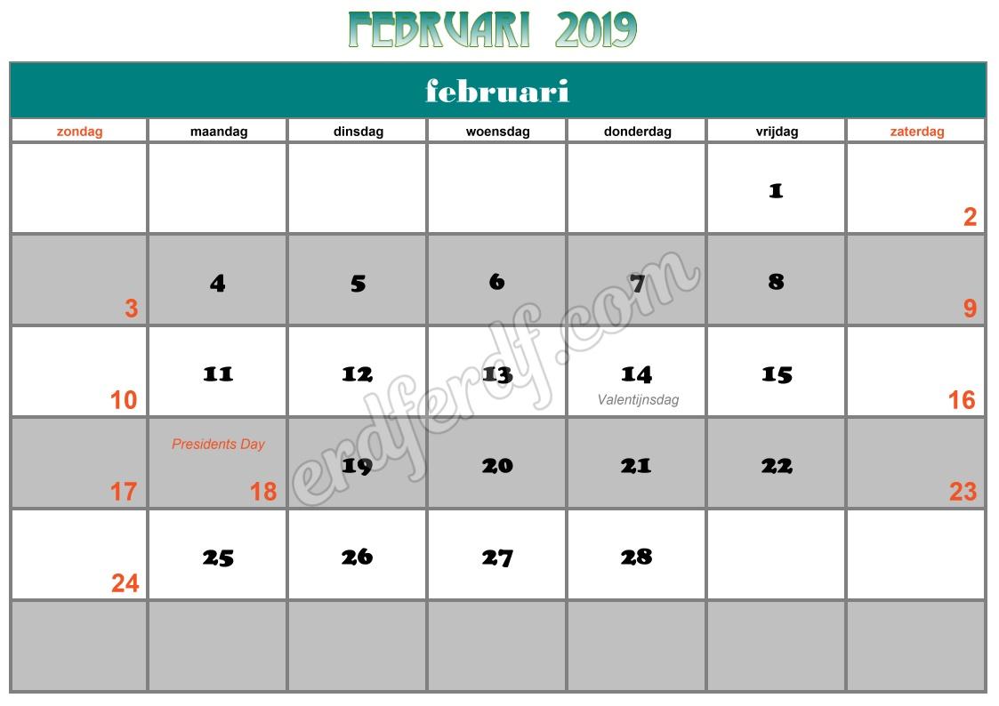 2 February Printable Calendar 2019 Nz