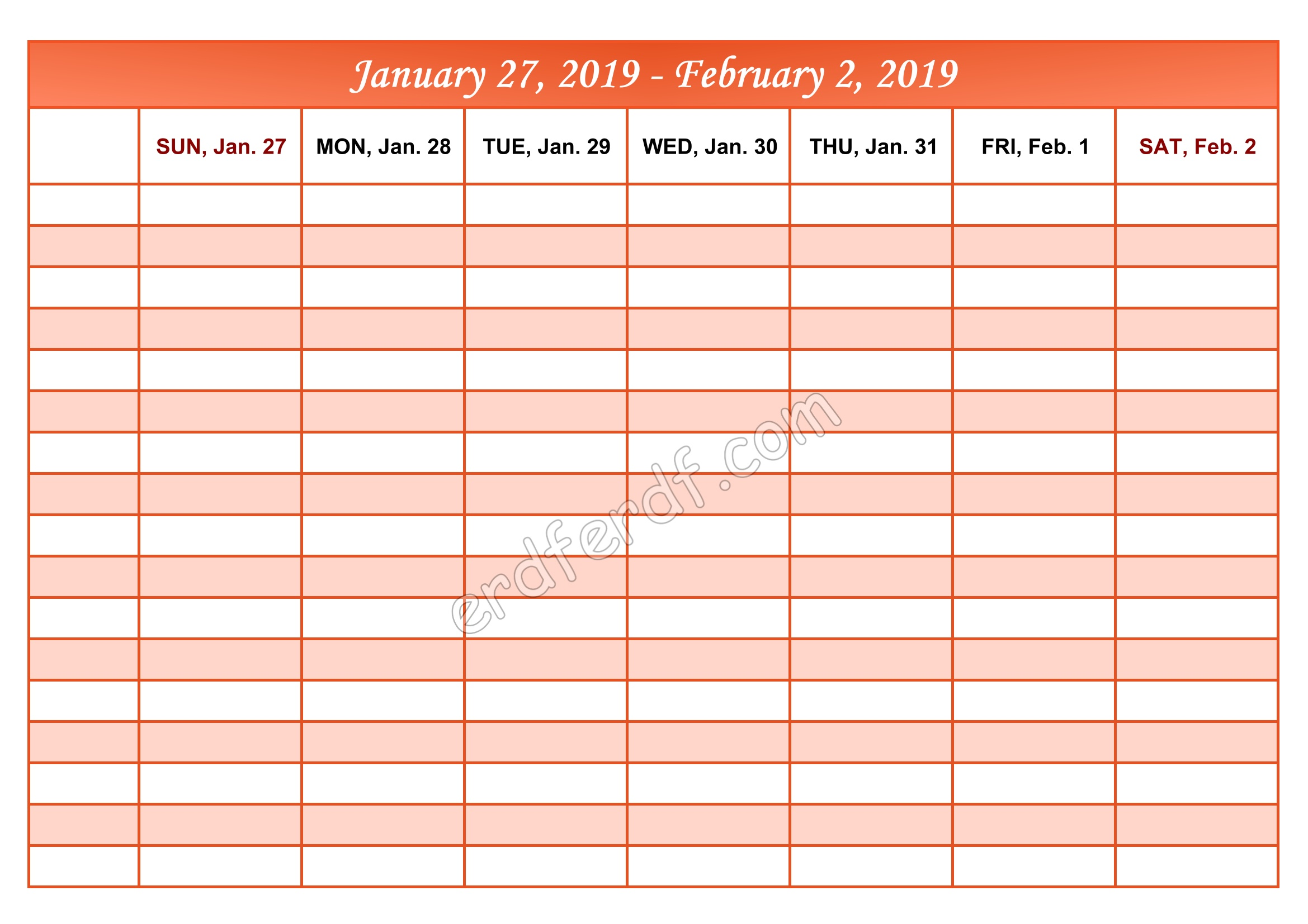 2 February Printable Calendar 2019 Weekly Month by Month