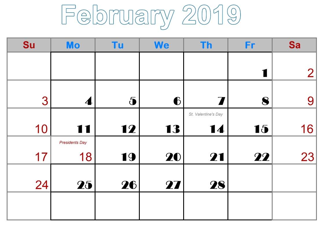 2 February printable calendar for 2019 uk
