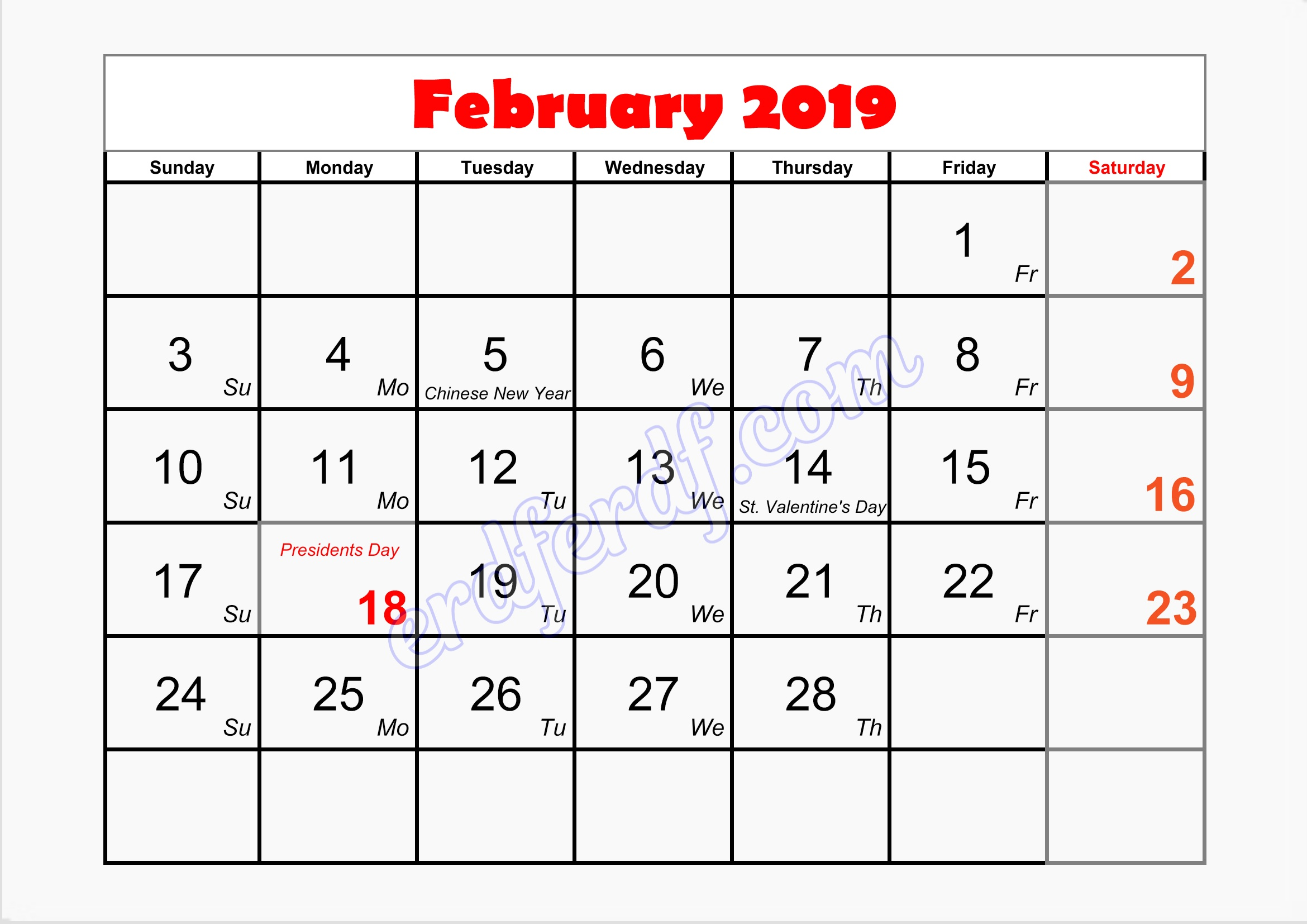 2 february monthly calendar template 2019 printable