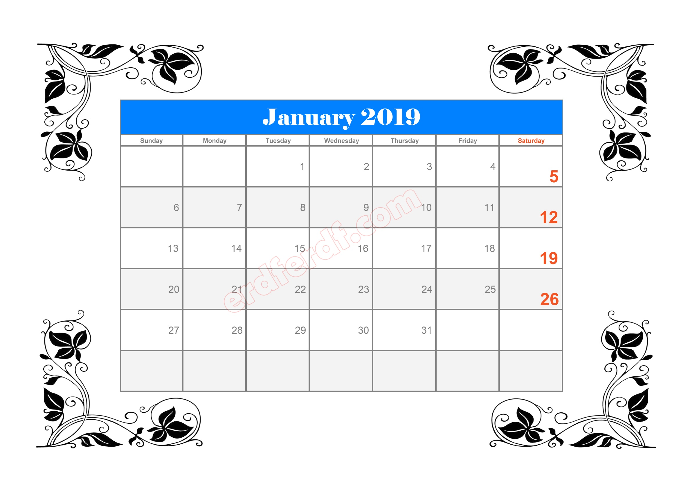 3 10 Blank Calendar 2019 January Sample