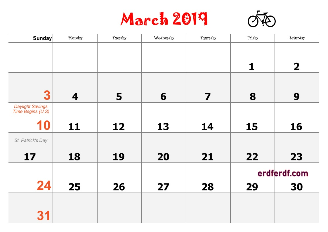 3 March Blank Calendar 2019 Word