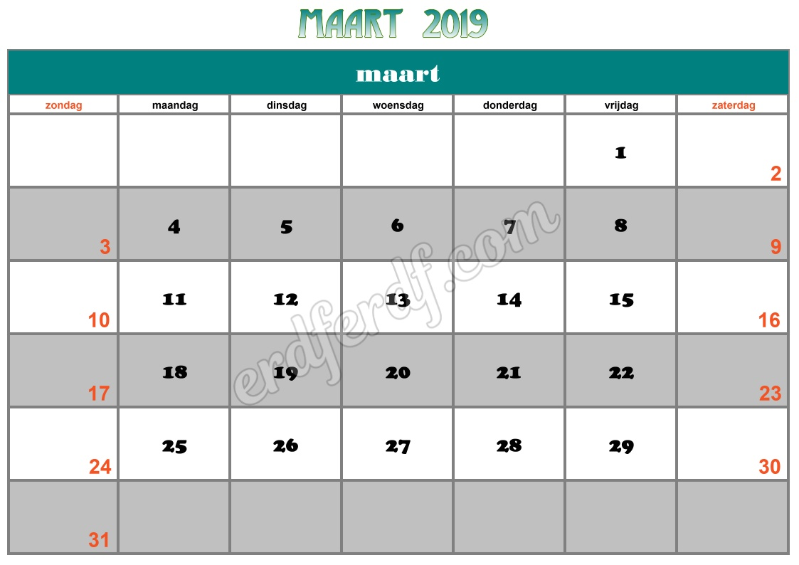 3 March Printable Calendar 2019 Nz