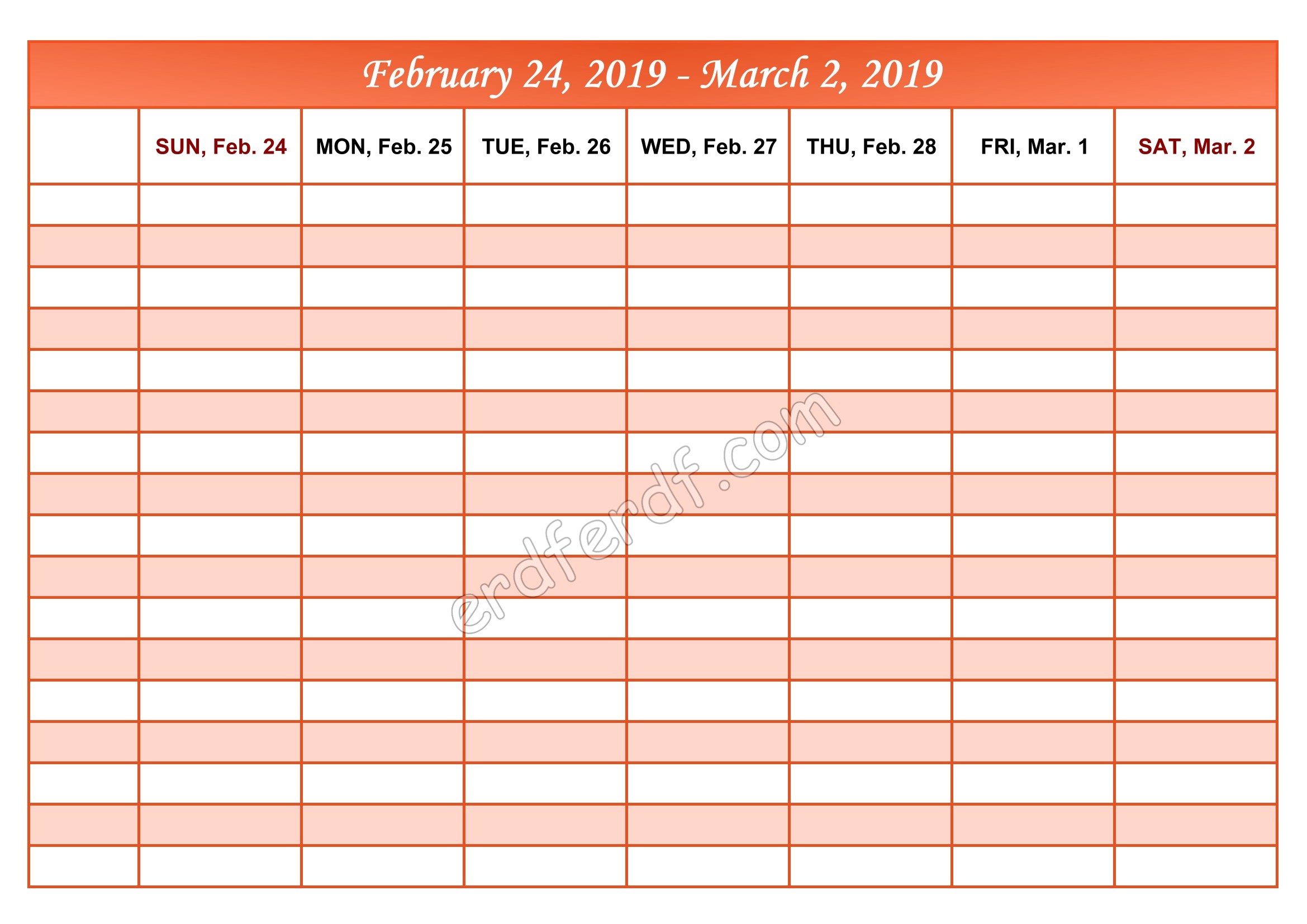 3 March Printable Calendar 2019 Weekly Month by Month