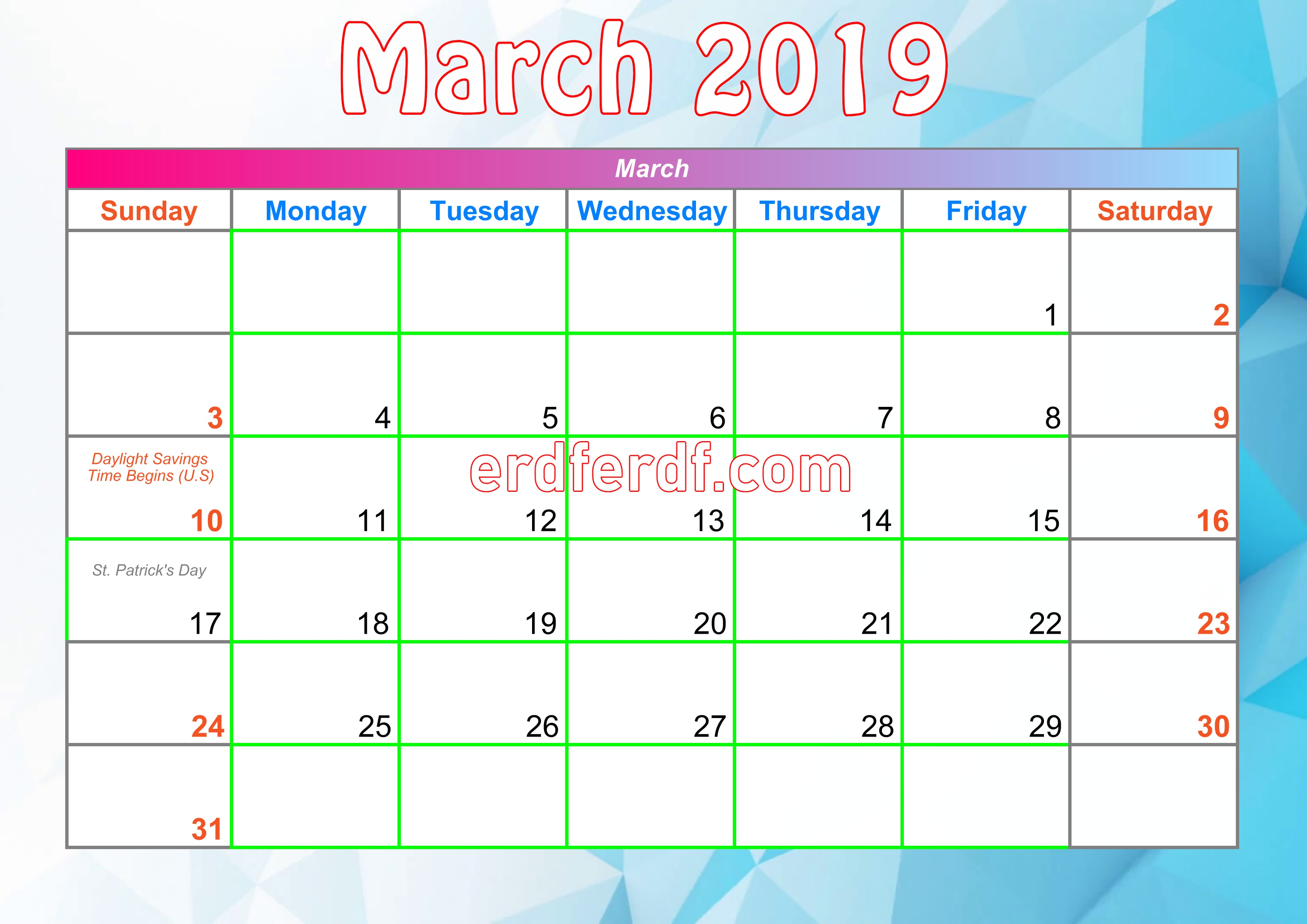 3 March Printable Calendar For 2019 With Holidays