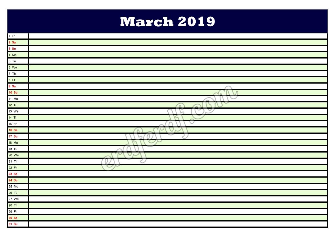 3 March Printable Calendar Planner 2019