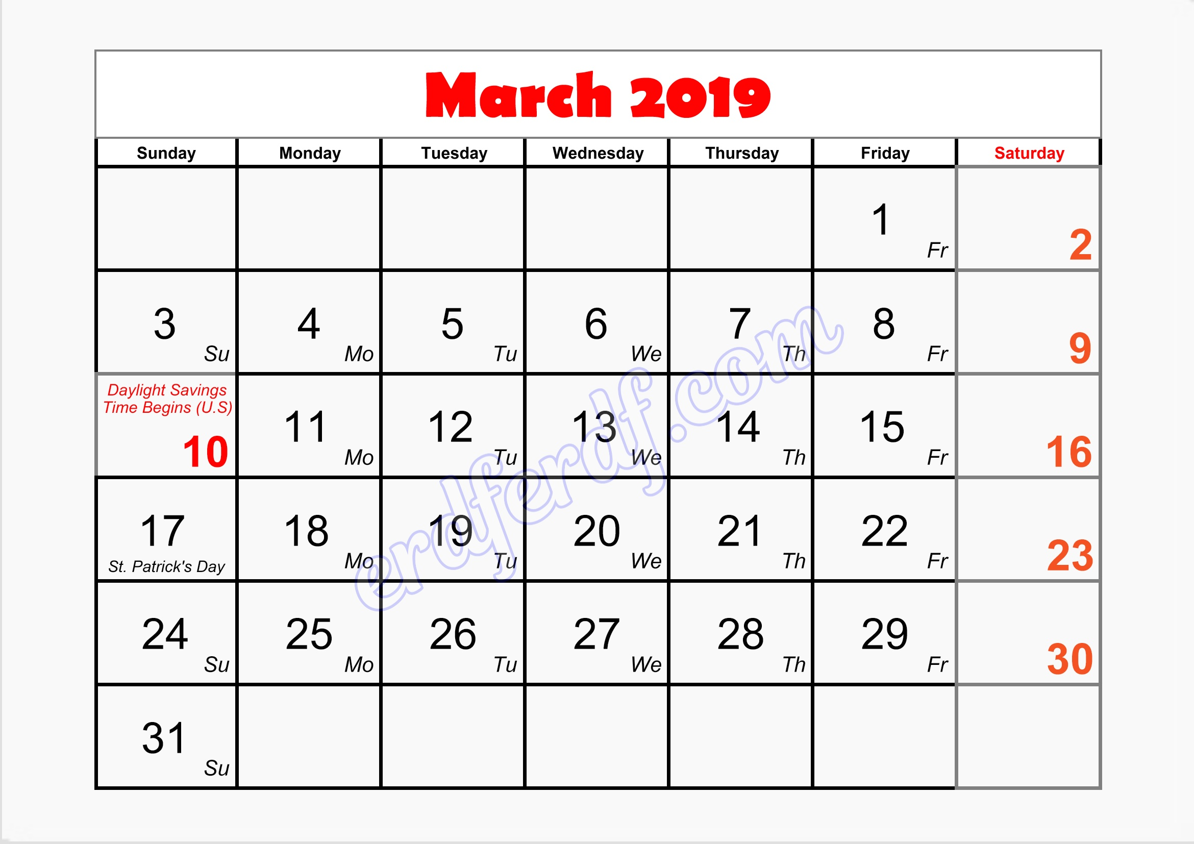 3 March blank monthly calendar printable 2019
