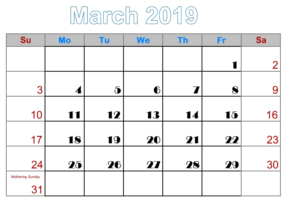 3 March free printable 2019 calendar with uk holidays