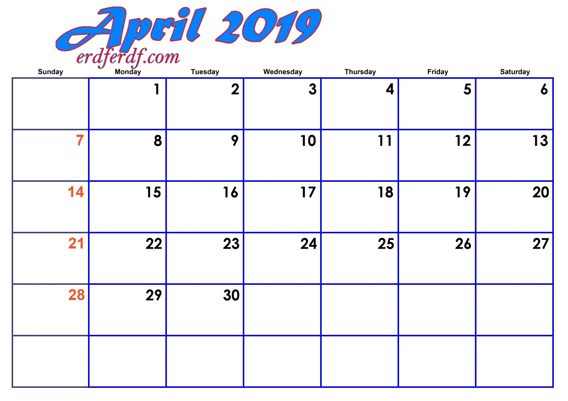 4 April Blank 2019 Calendar By Month