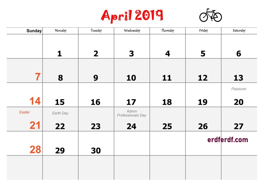 4 April Blank Calendar 2019 Word