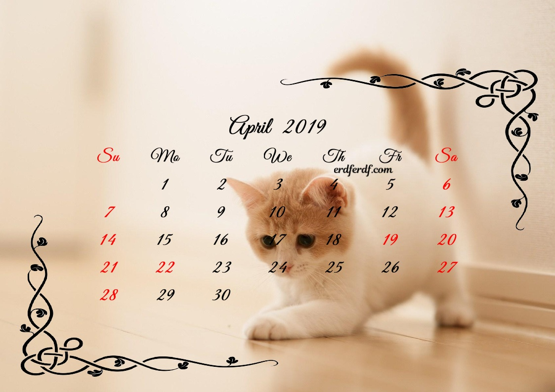 4 April Printable Calendar 2019 Cute Cats