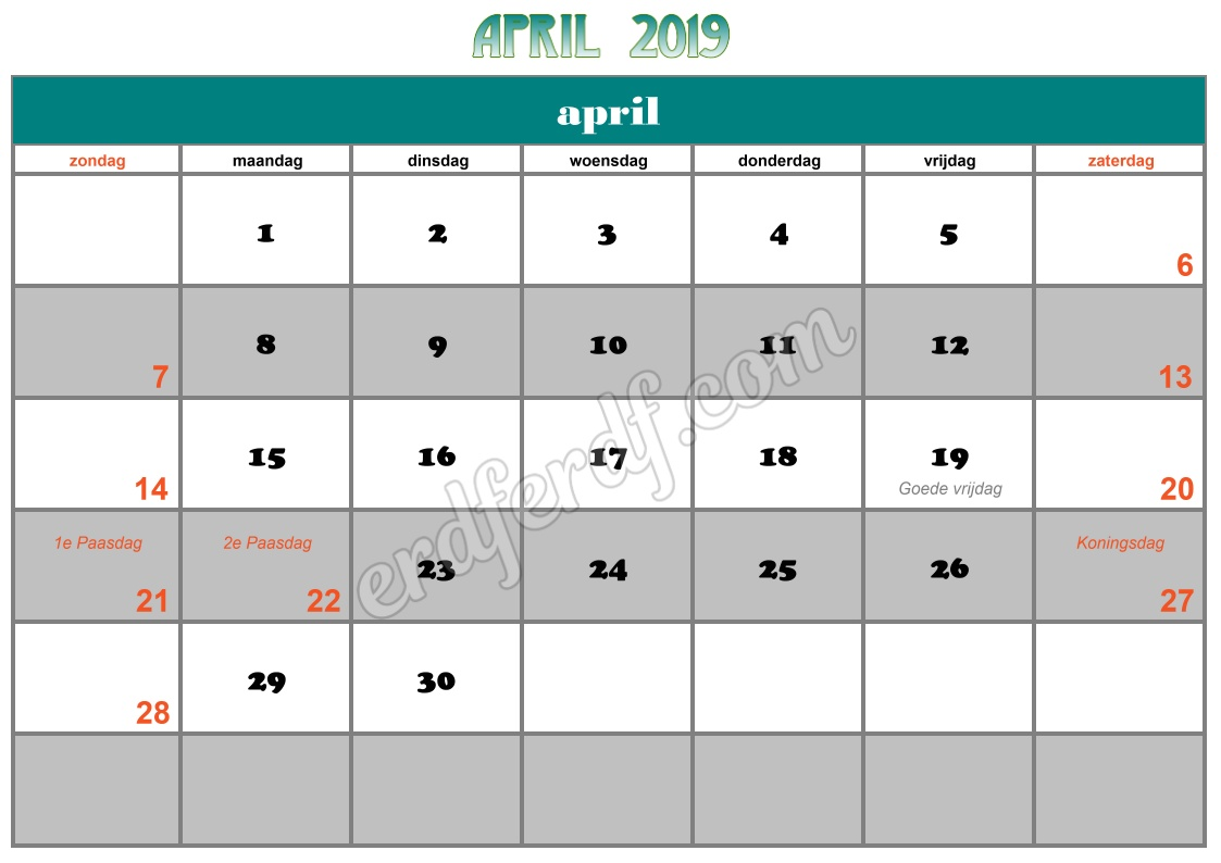 4 April Printable Calendar 2019 Nz