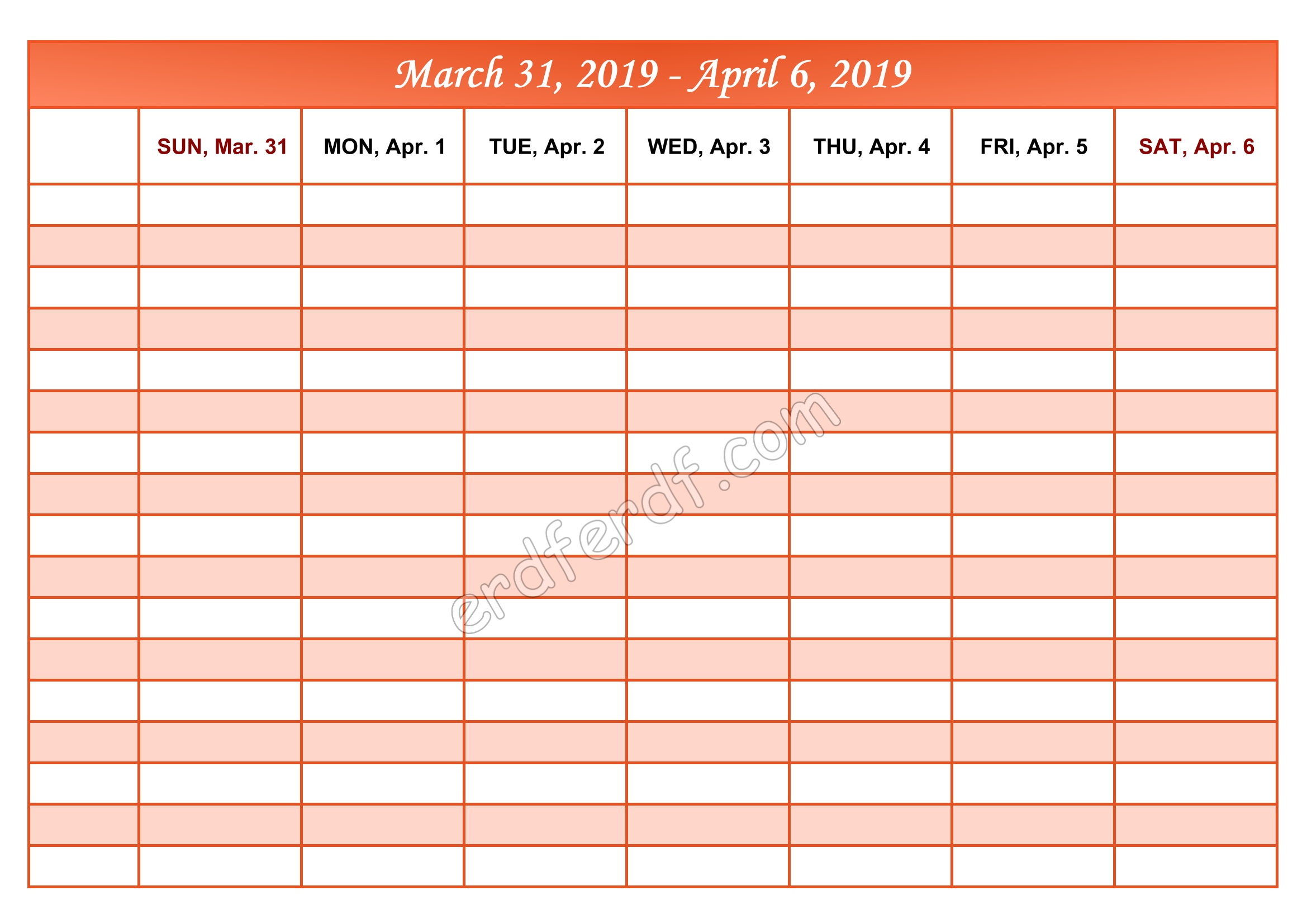 4 April Printable Calendar 2019 Weekly Month by Month