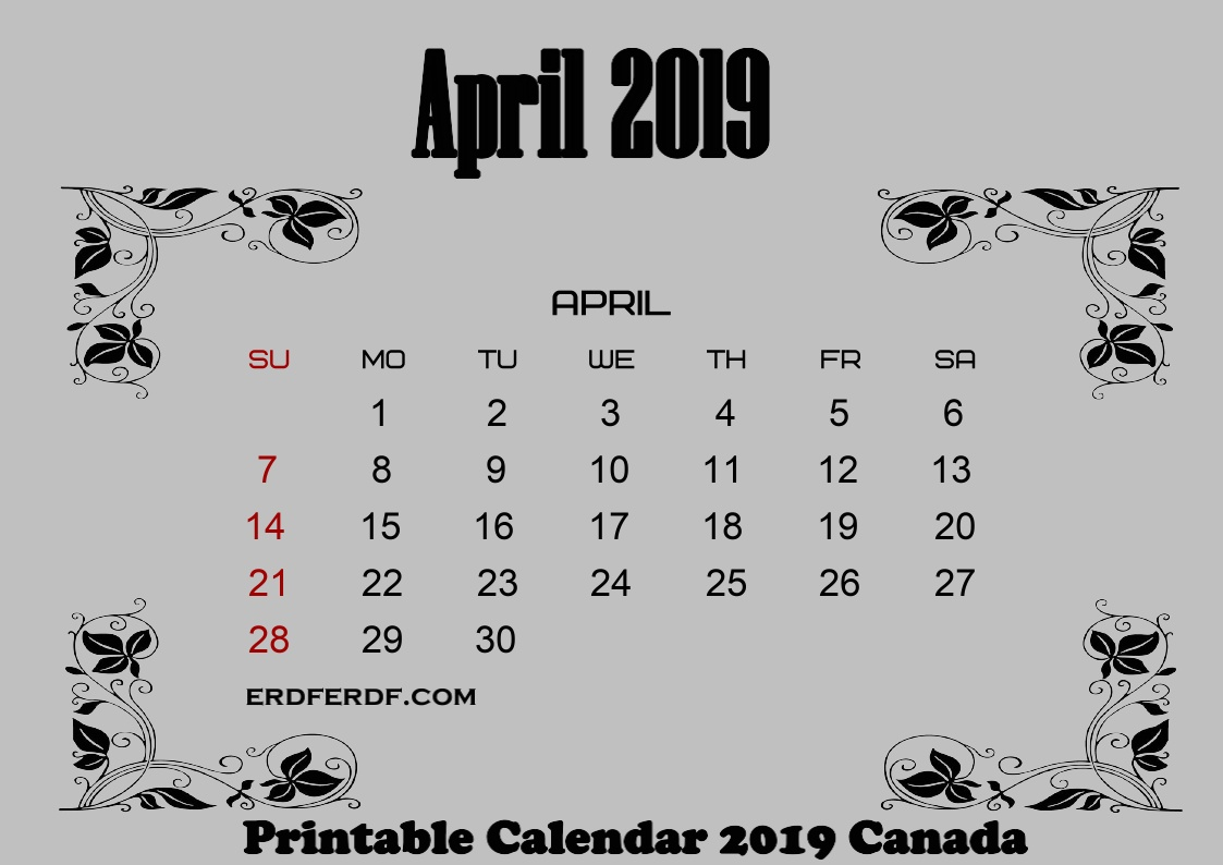 4 April free printable 2019 calendar with canadian holidays