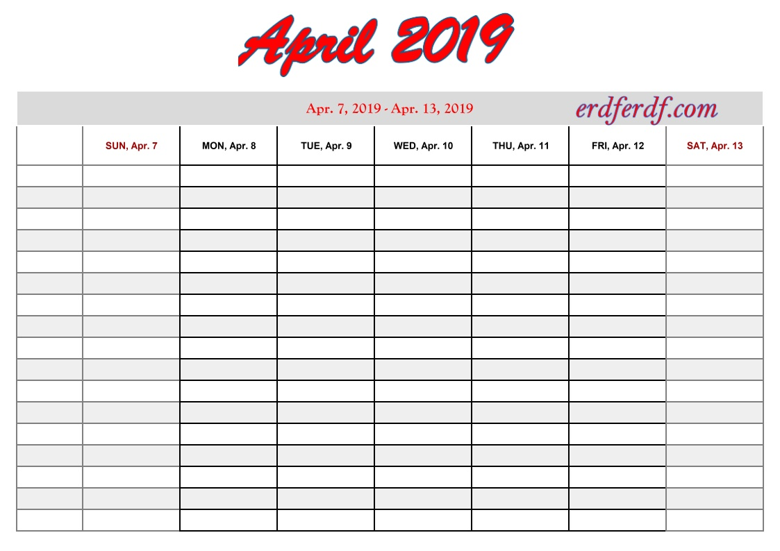 4 April printable 2019 calendar with weeks