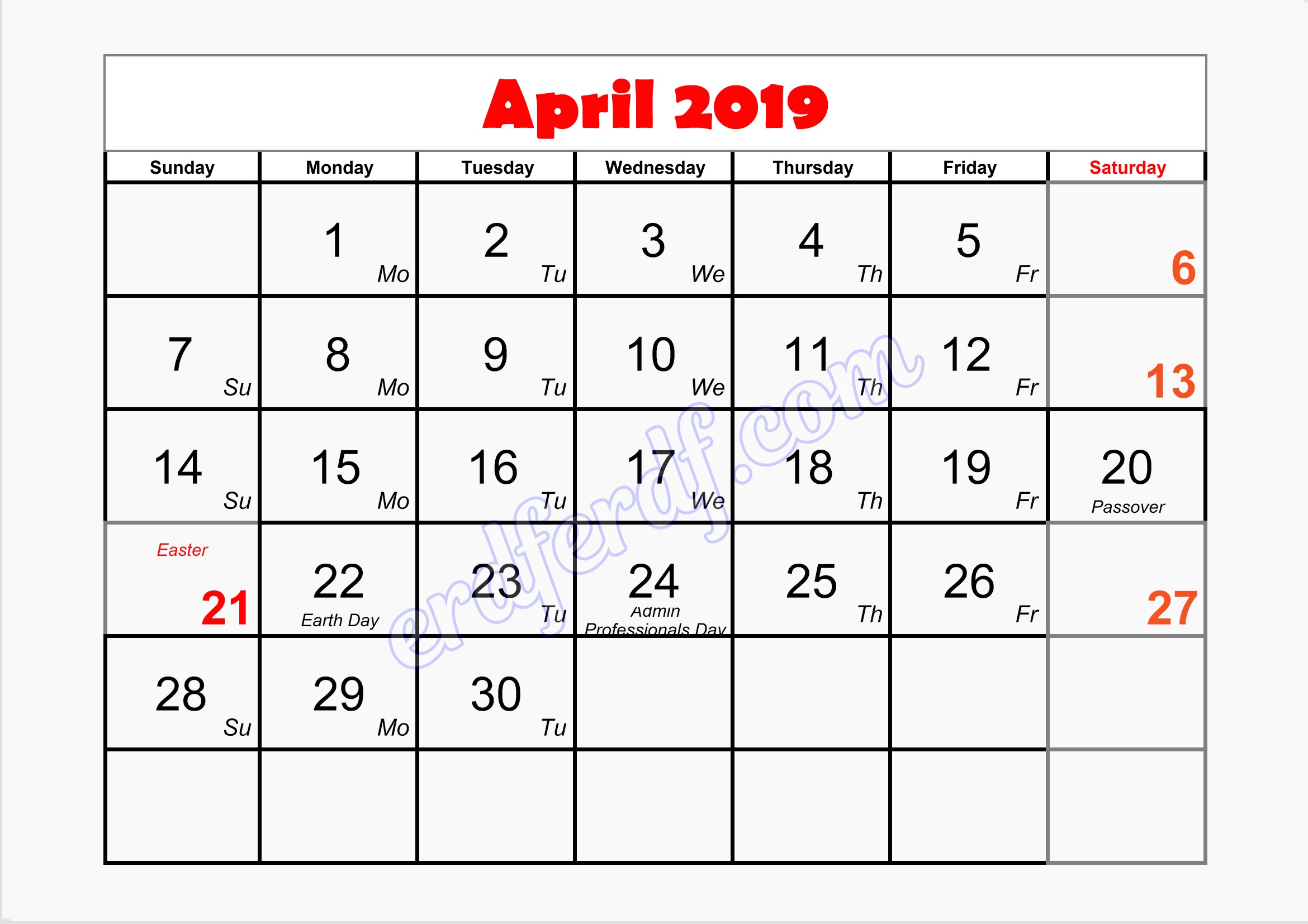 4 April printable blank calendar template 2019