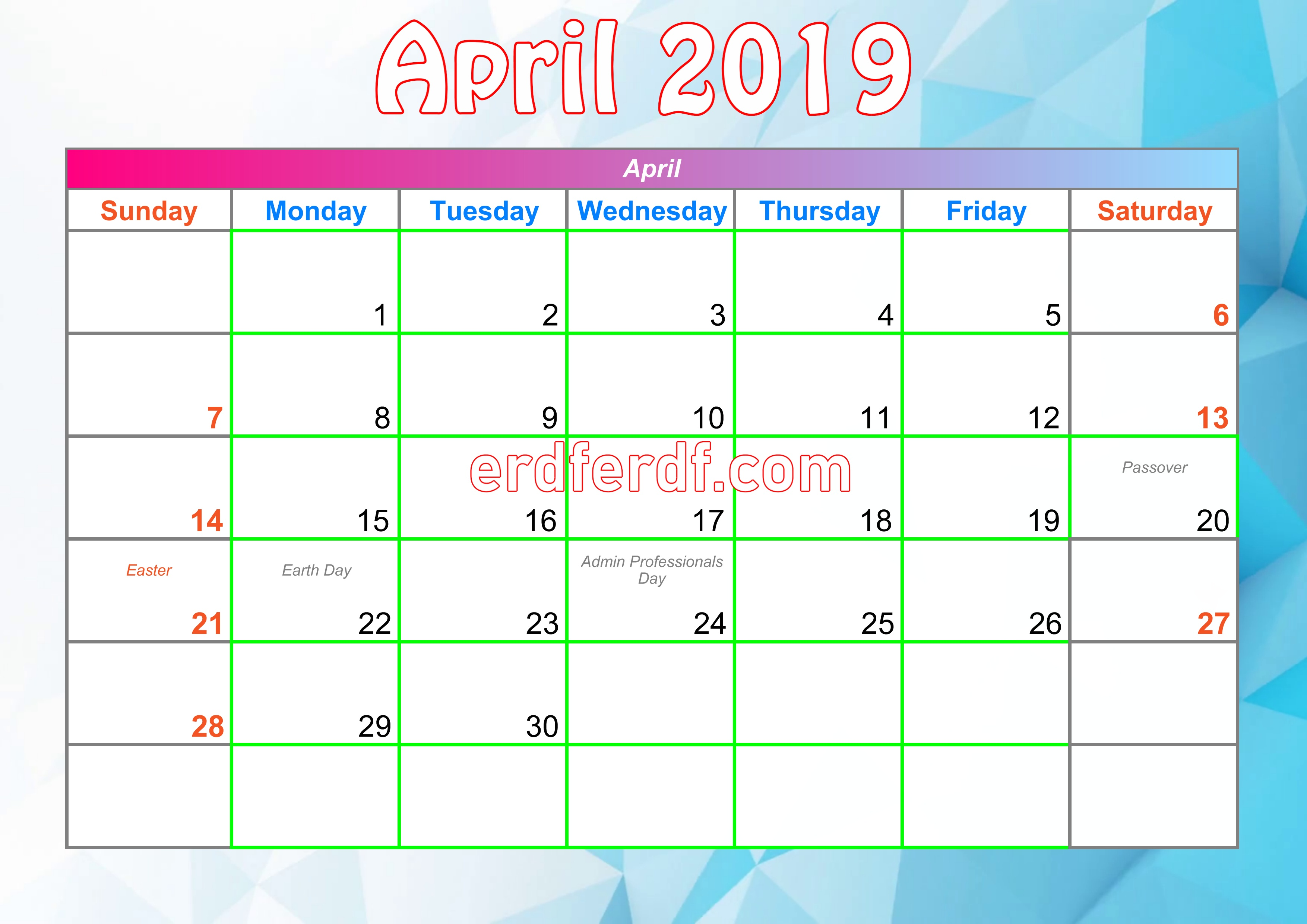 4 Arpil Printable Calendar For 2019 With Holidays