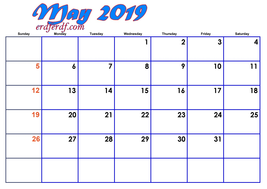 5 May Blank 2019 Calendar By Month