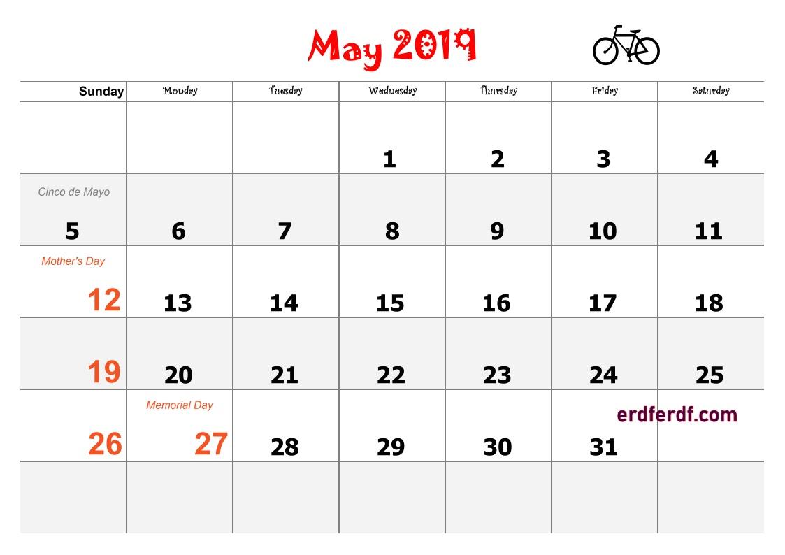 5 May Blank Calendar 2019 Word