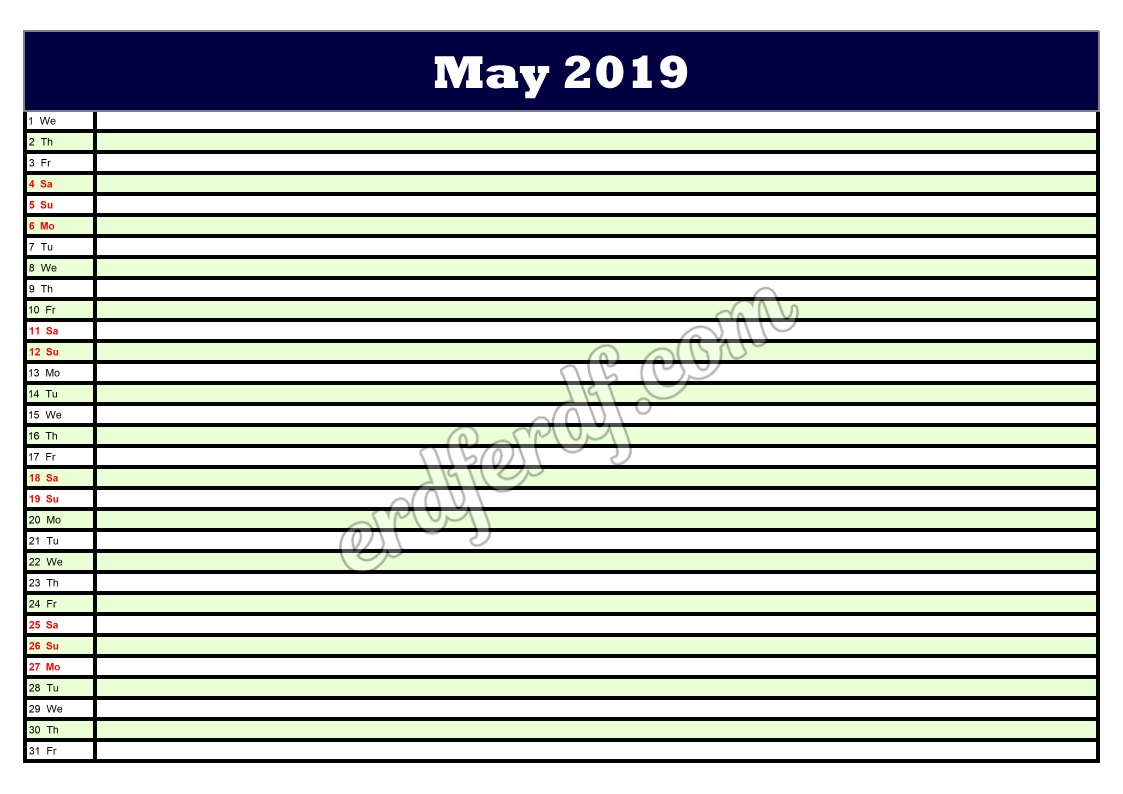 5 May Printable Calendar Planner 2019