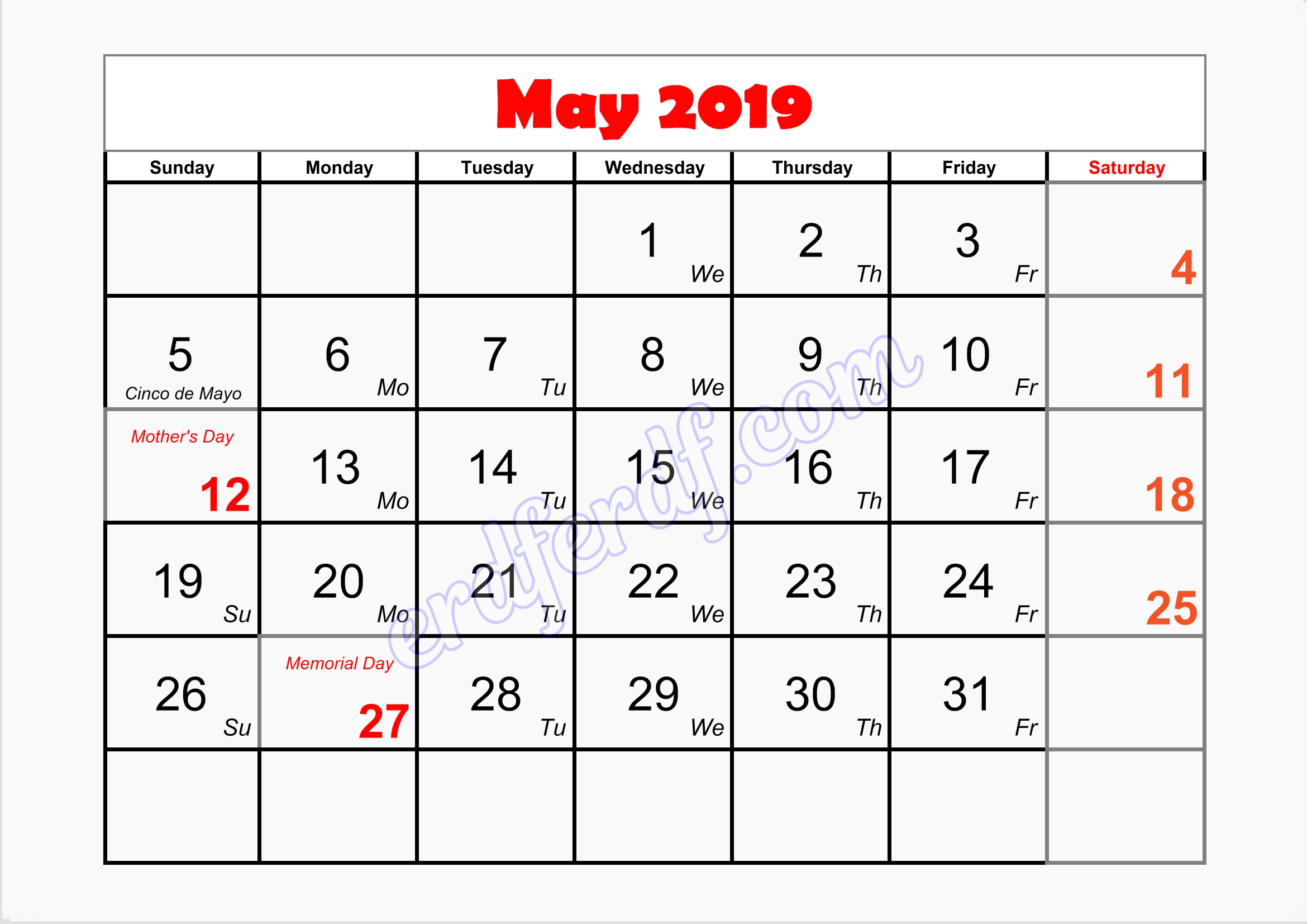 5 May blank calendar january 2019 printable