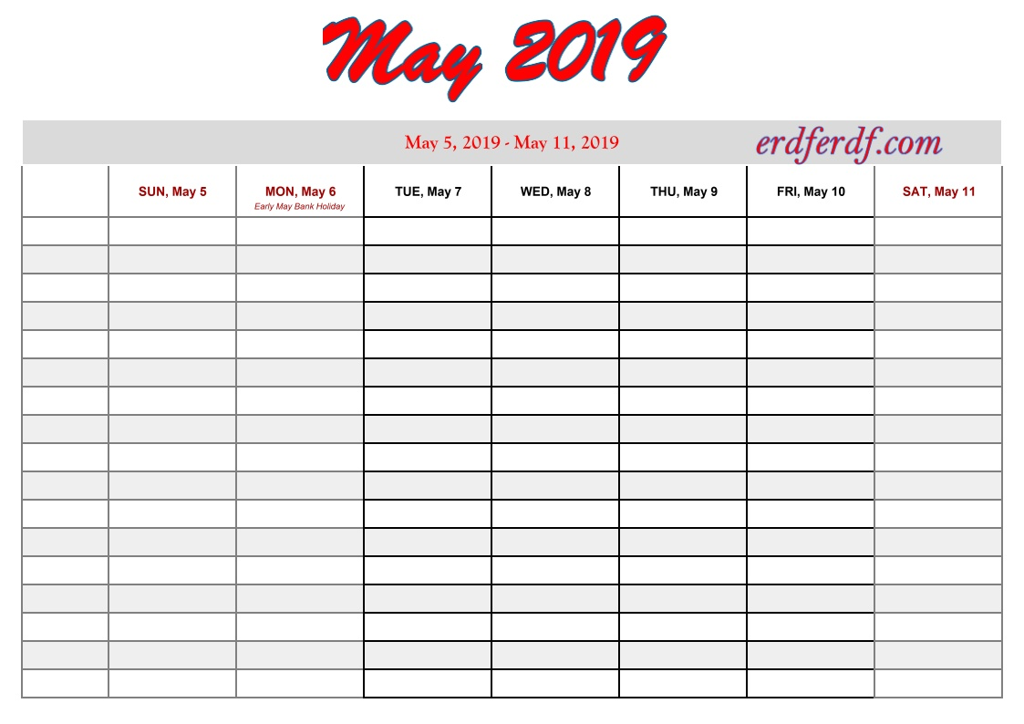 5 May free printable 2019 calendar with week numbers