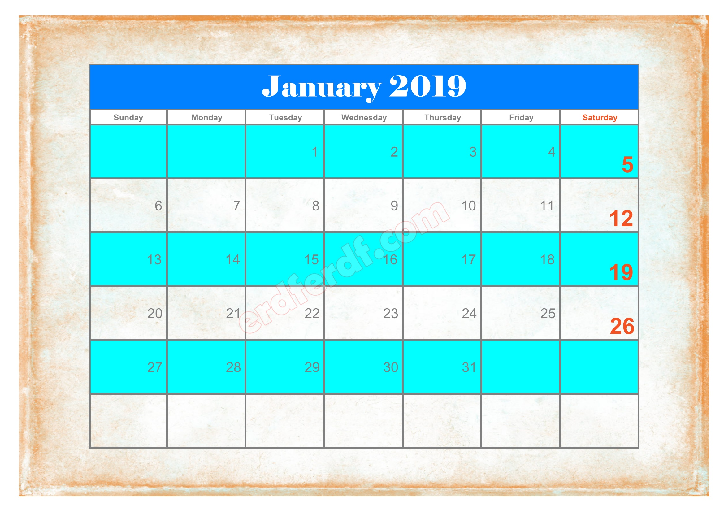 6 10 Blank Calendar 2019 January Sample