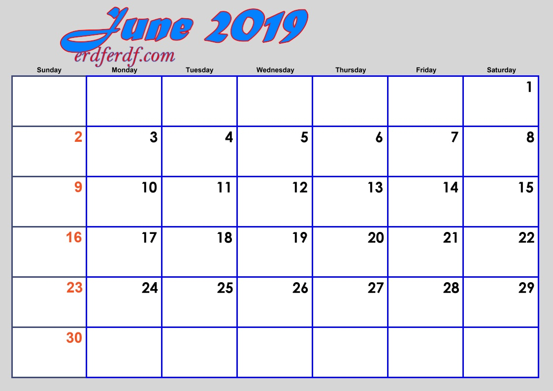 6 June Blank 2019 Calendar By Month