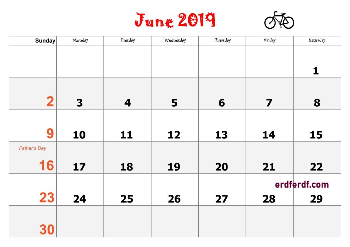 6 June Blank Calendar 2019 Word