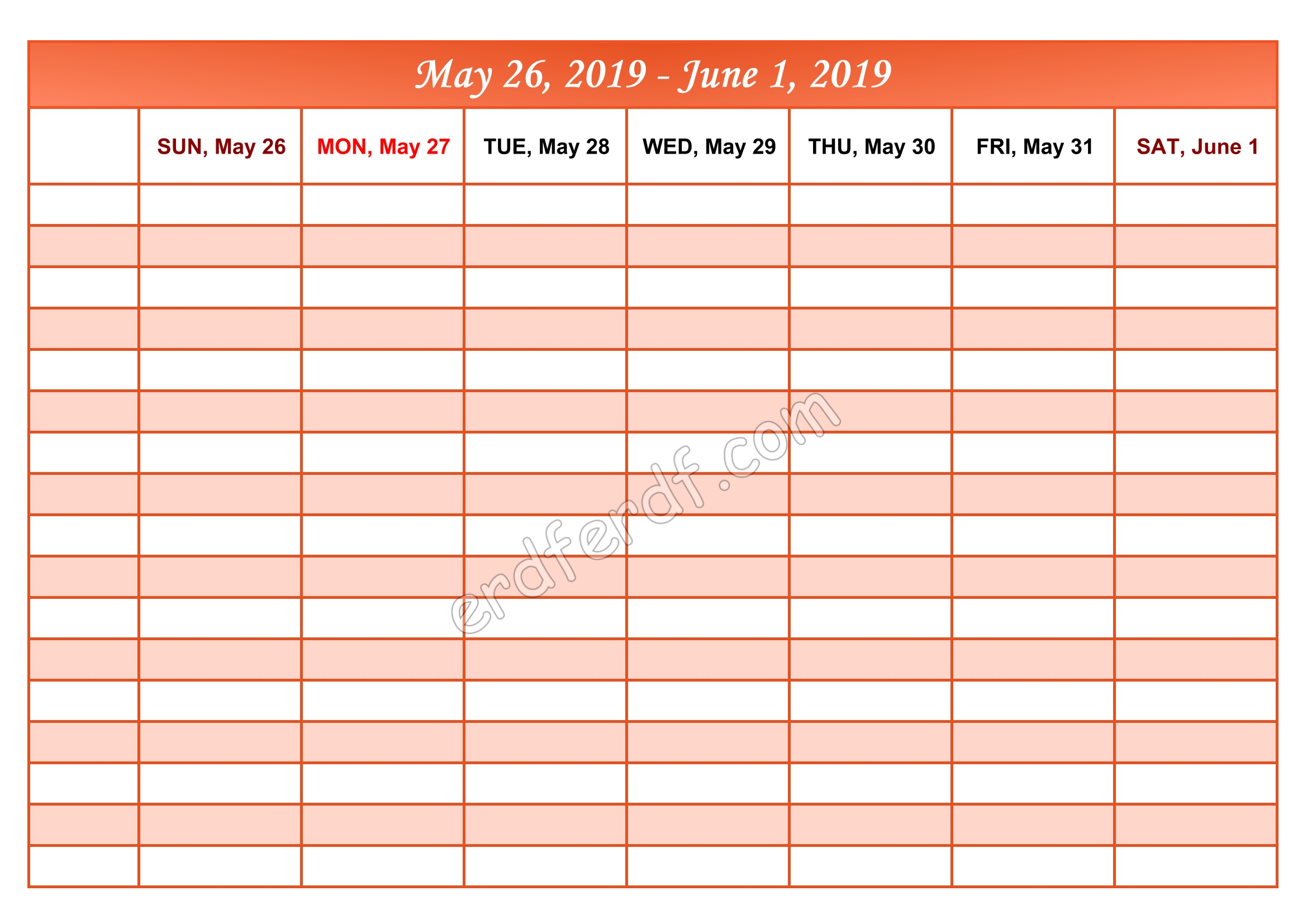 6 June Printable Calendar 2019 Weekly Month by Month