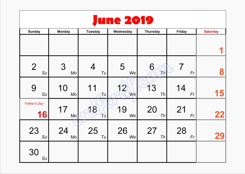 6 blank calendar june 2019 printable