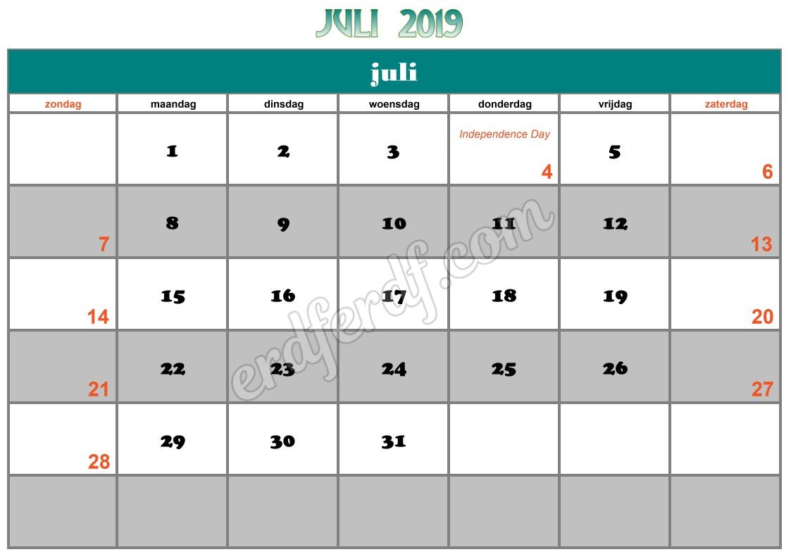 7 Juli Printable Calendar 2019 Nz