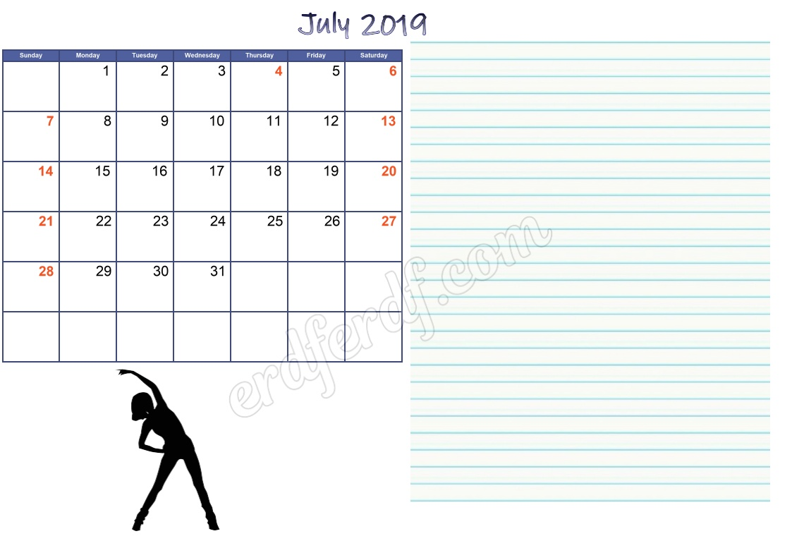 7 July 2019 Blank Calendar Template With Notes