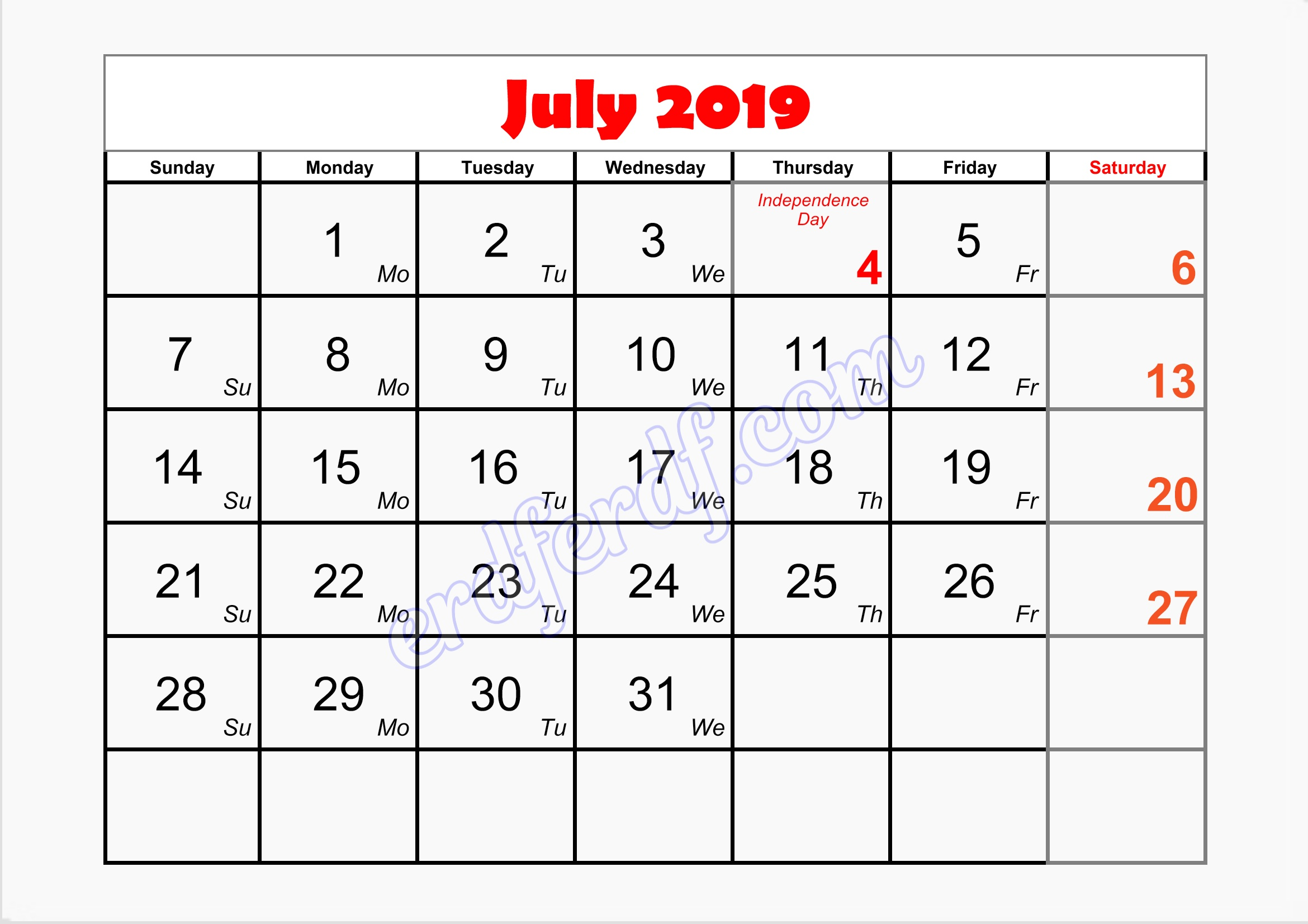 7 July 2019 blank printable calendar with holidays