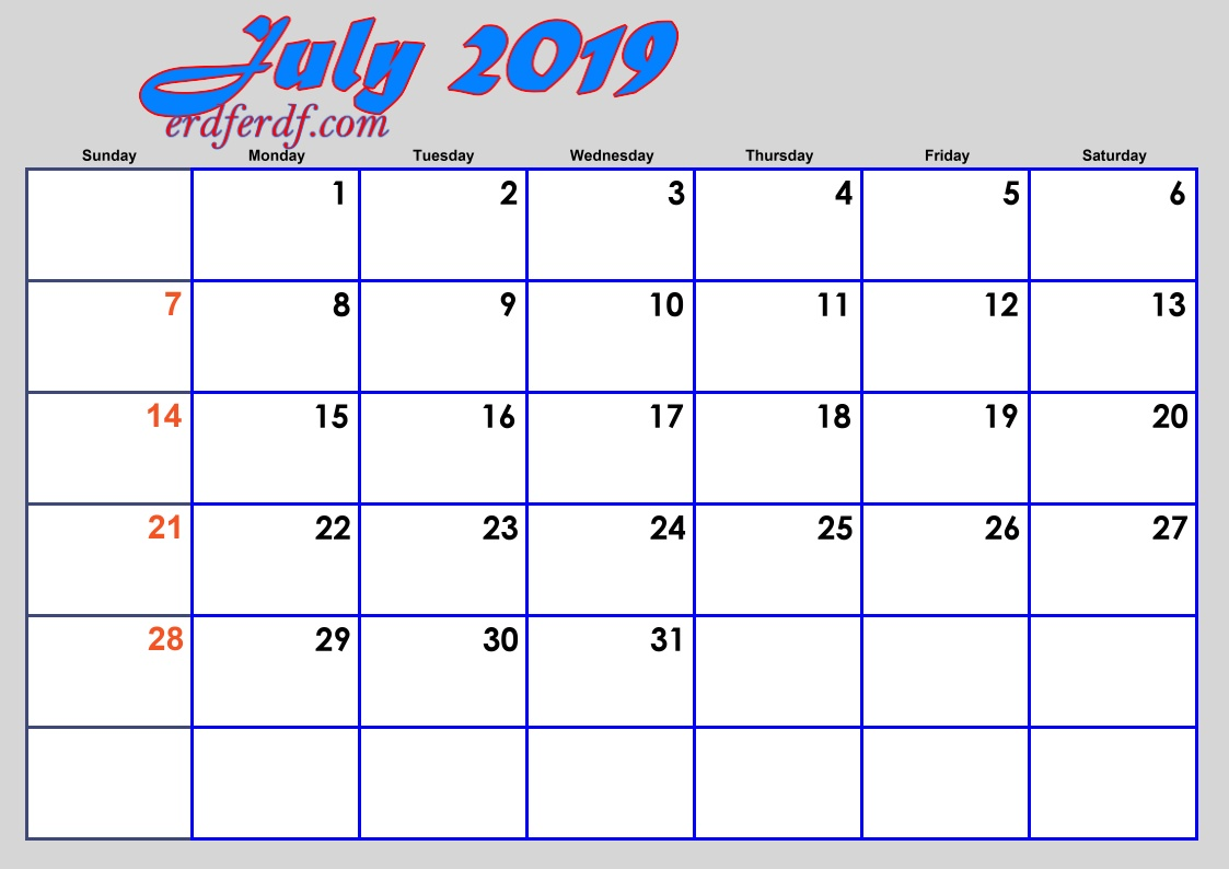 7 July Blank 2019 Calendar By Month