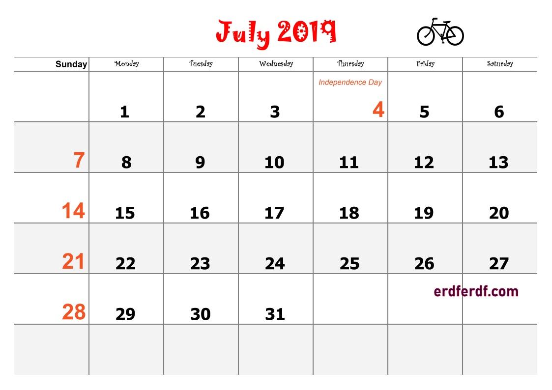 7 July Blank Calendar 2019 Word
