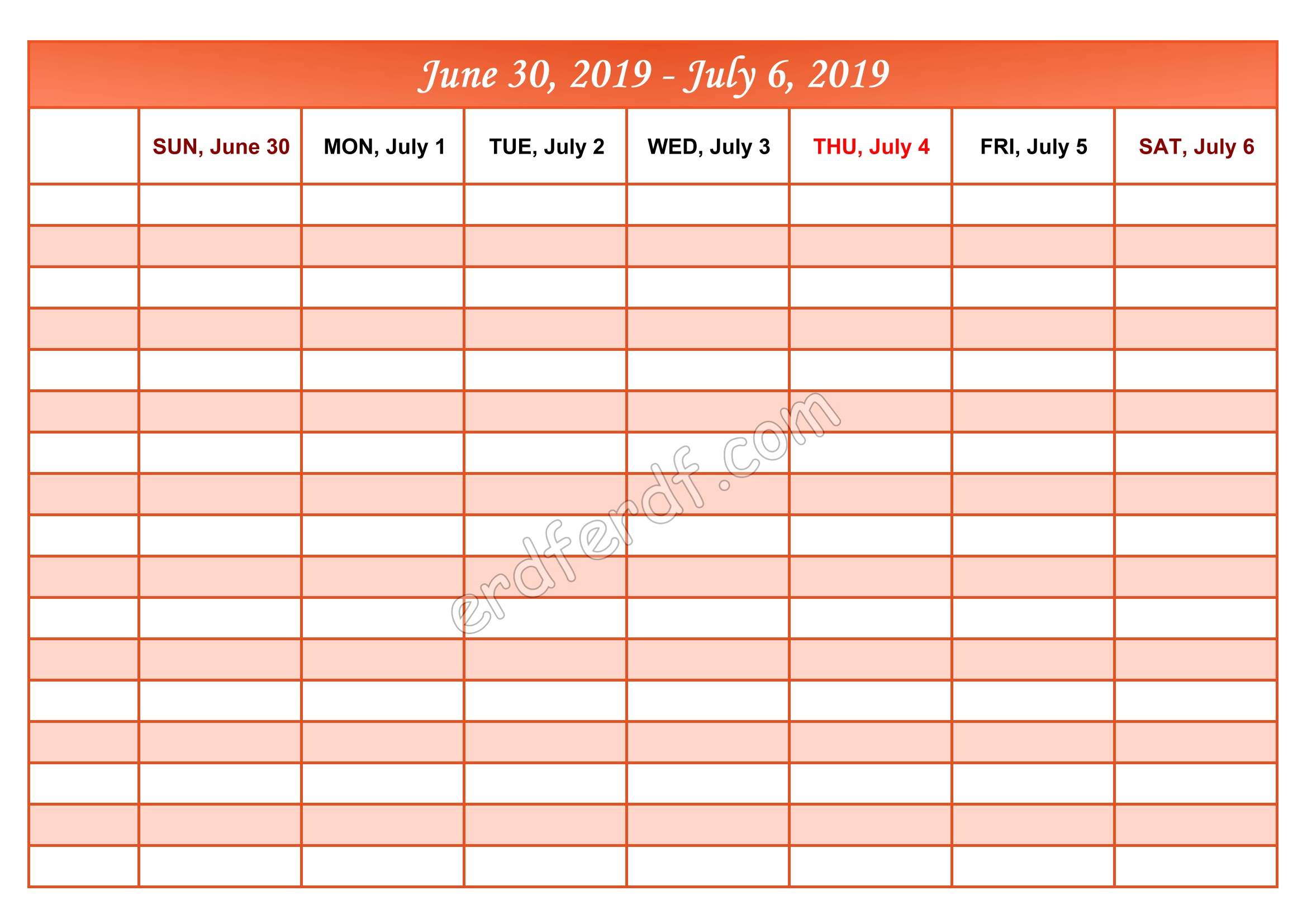 7 July Printable Calendar 2019 Weekly Month by Month