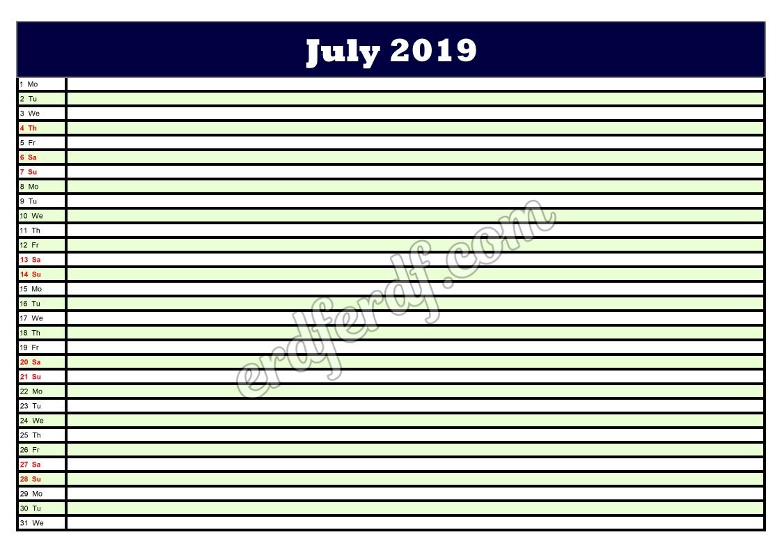 7 July Printable Calendar Planner 2019