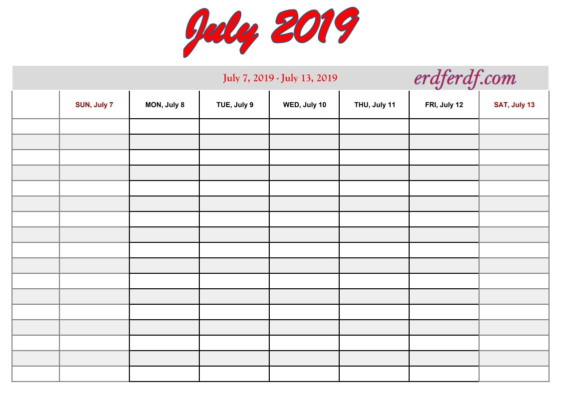 7 July free printable 2019 calendar with week numbers