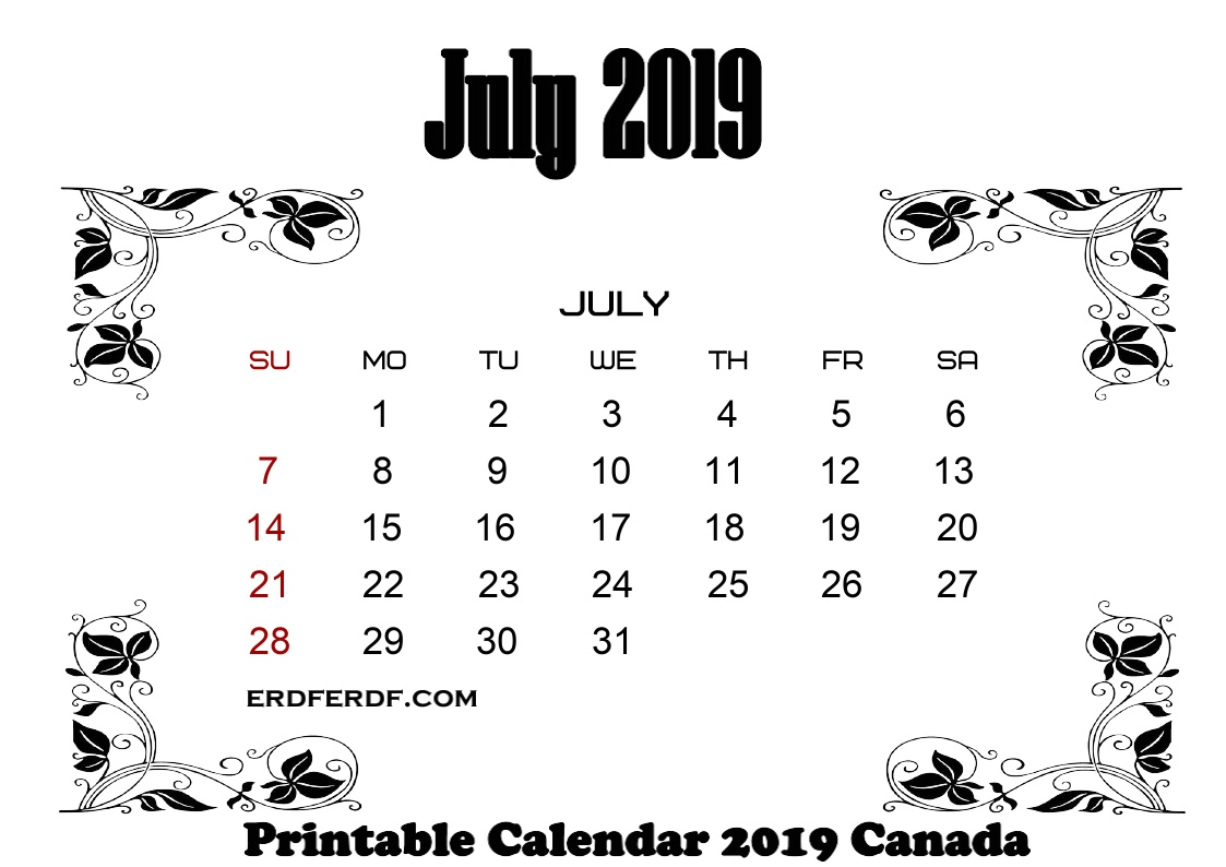7 July printable monthly calendar 2019 canada