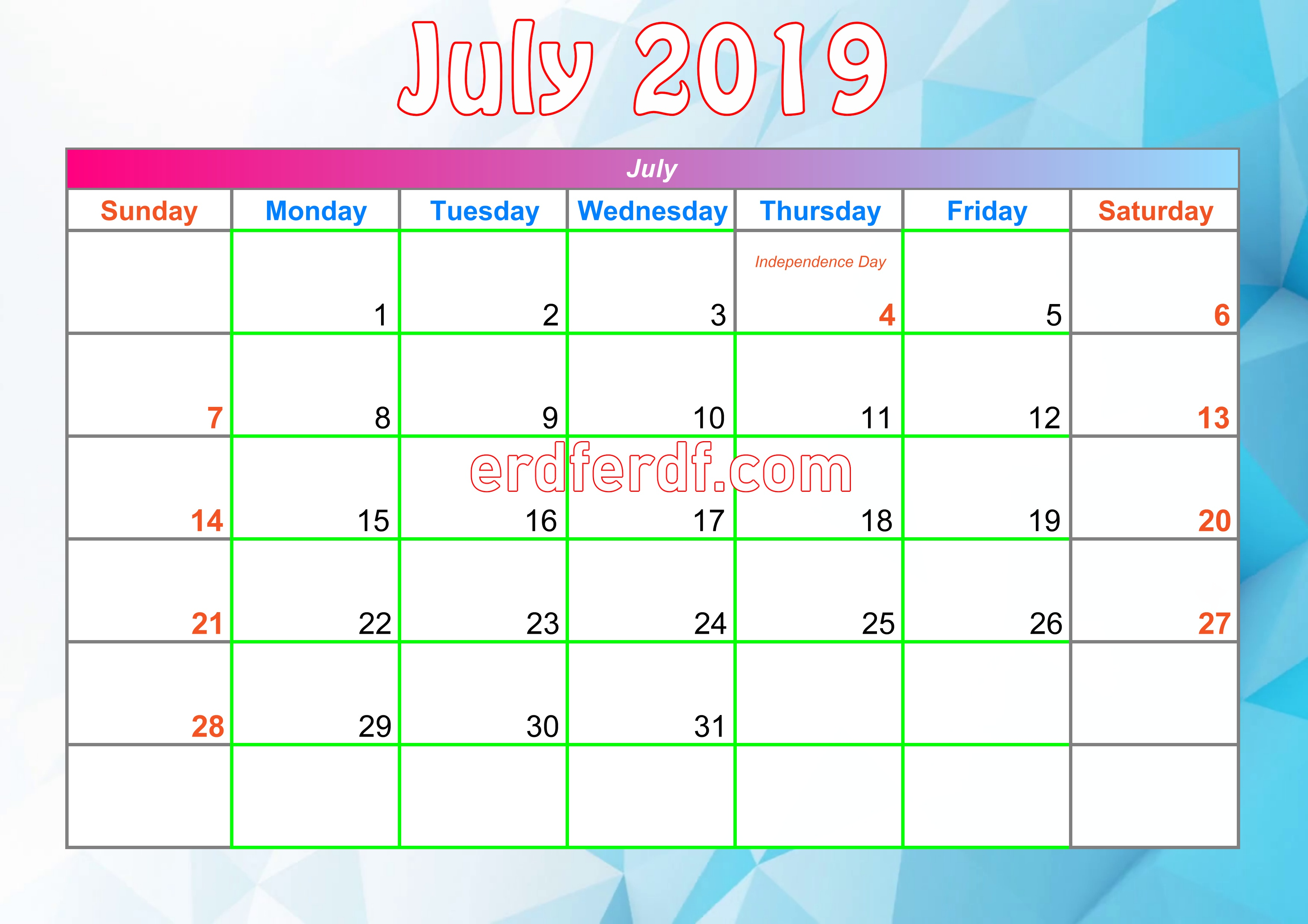 7July Printable Calendar For 2019 With Holidays