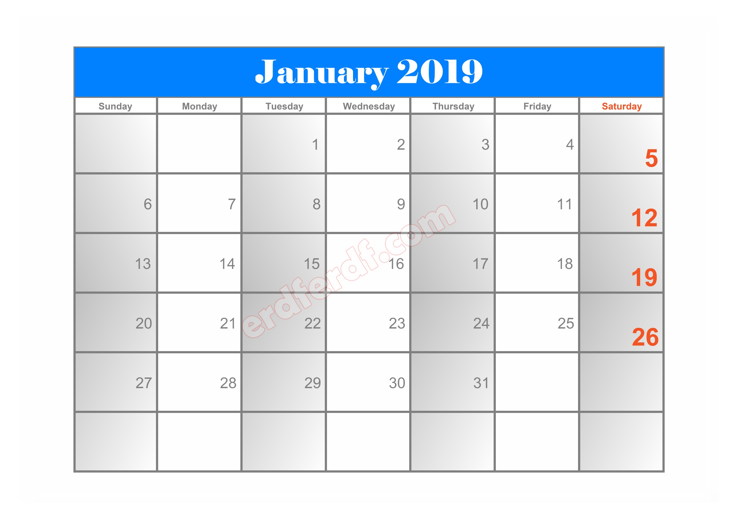 8 10 Blank Calendar 2019 January Sample