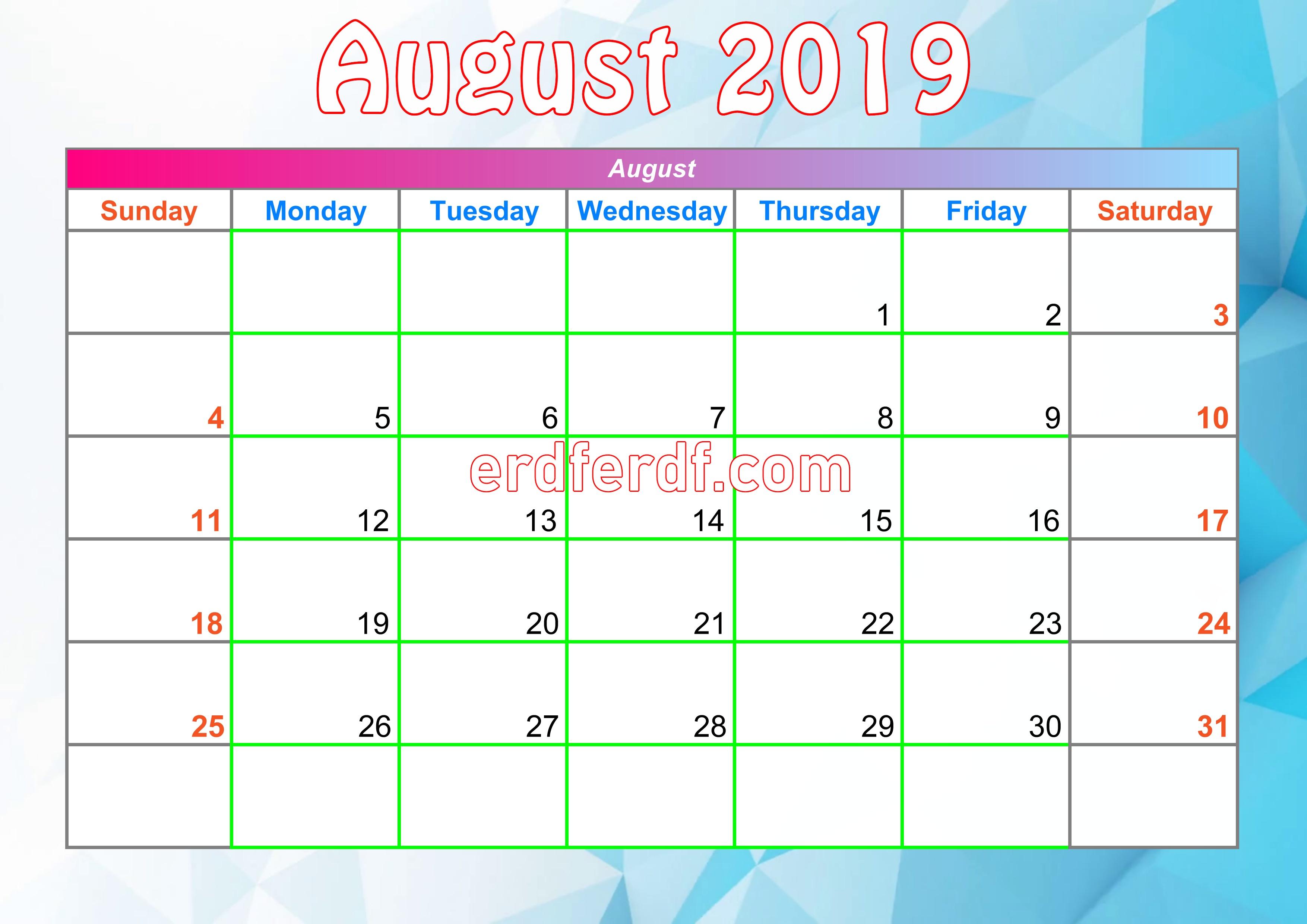 8 August Printable Calendar For 2019 With Holidays