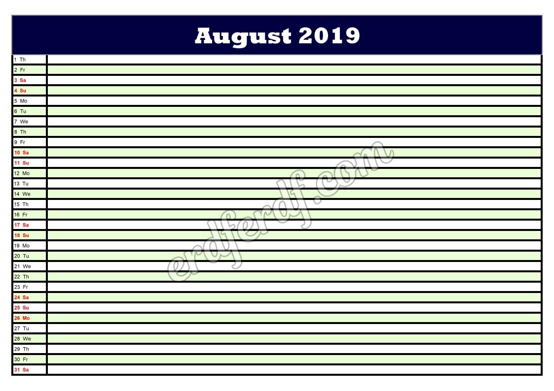 8 August Printable Calendar Planner 2019