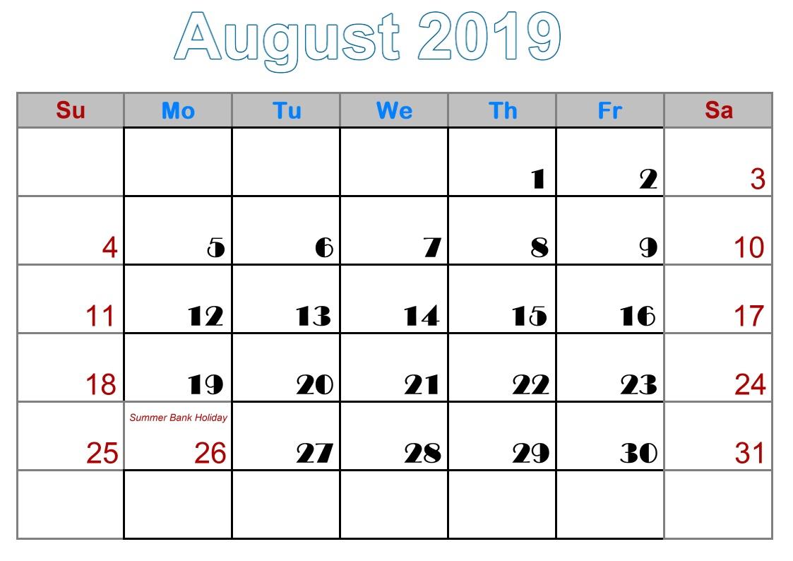 8 August calendar template 2019 uk