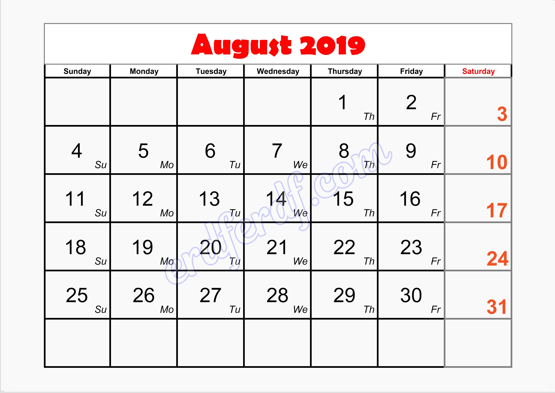 8 August free blank printable calendar 2019