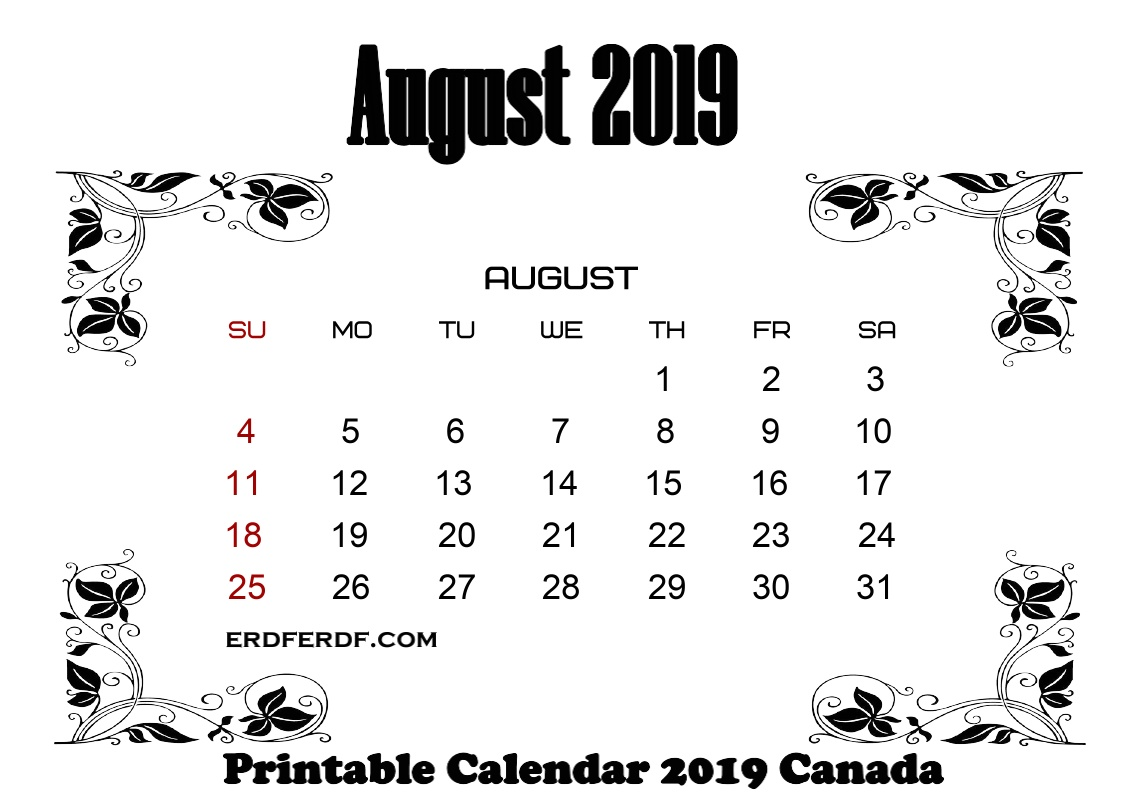 8 August printable monthly calendar 2019 canada
