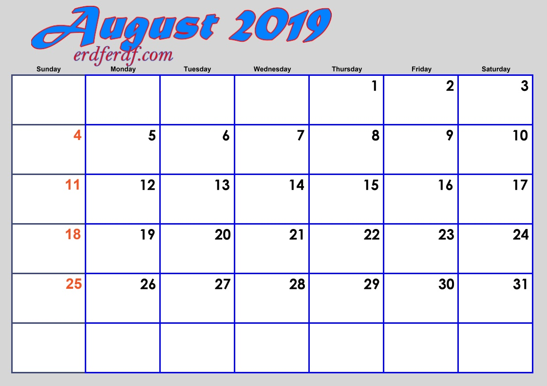 8 Augustus Blank 2019 Calendar By Month