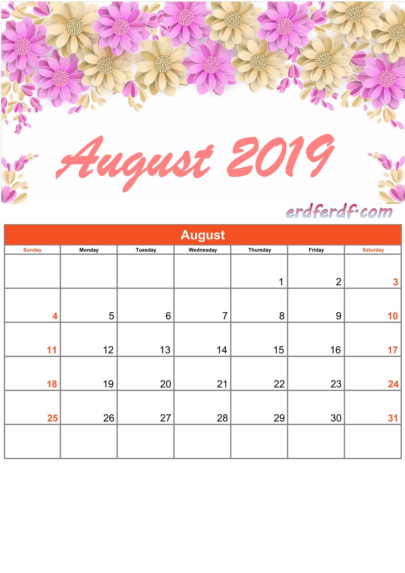 8 Augustus Printable Calendar 2019 Monthly